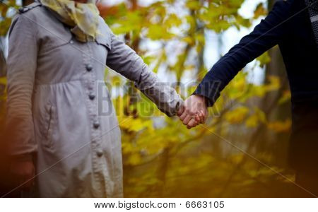 Love - Couple In Forest Holding Hands Together