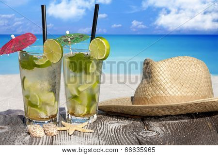 Tropical Cocktail On The Beach