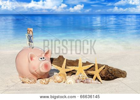 Piggy Bank With Banknotes On The Beach