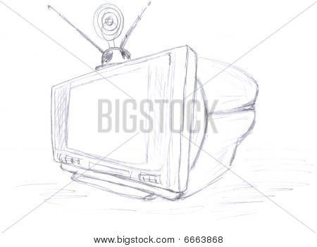 TV with antenna, sketch, scribble pencil drawing poster