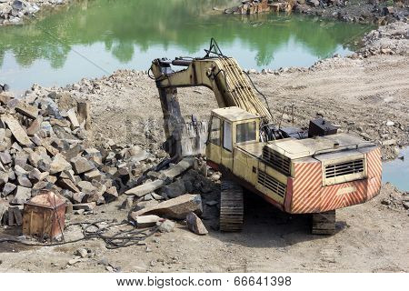 Excavator Machine Doing Earthmoving Work