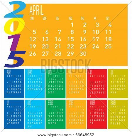 Year 2015 Colorful Calendar - April