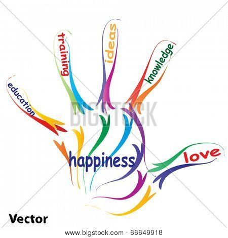 Vector concept or conceptual education hand print colorful word cloud isolated on white background