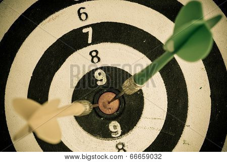 Black And White Target With Darts Sport Background