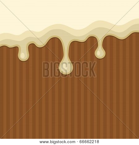 White Melted Chocolate Streams Background. Vector