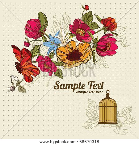 vintage card with flowers and birdcage