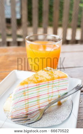 Banana Caramel Crepe Cake And Fresh Orange Juice