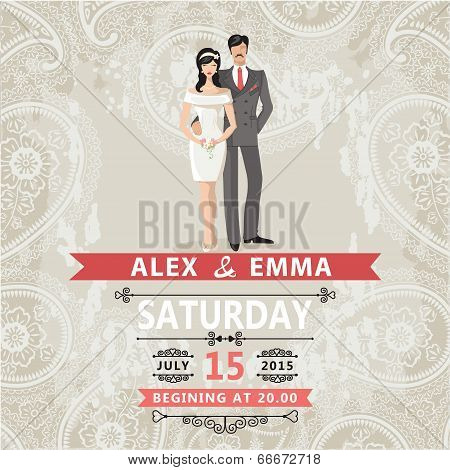 Retro Couple Bride And Groom.wedding Invitation With Paisley Lace