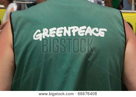 VALENCIA, SPAIN - JUNE 10, 2014: A crew member from Greenpeace's vessel the