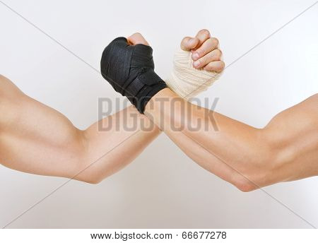 Two Hands Clasped Arm Wrestling, The Struggle