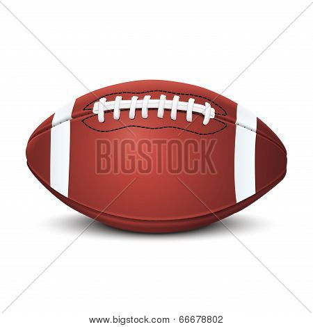Realistic American Football Ball Isolated On White Background. Vector Illustration