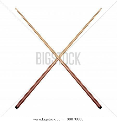 Billiard Cues Isolated On White Background. Vector Illustration