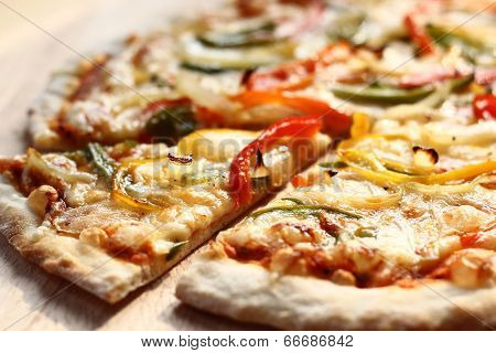 Roasted Vegetable Pizza on wood board