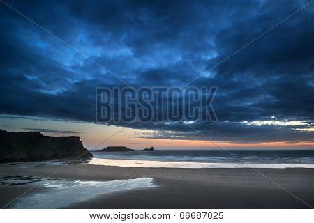 Beautiful Dramatic Sunset Landscape Over Rhosilli Bay Beach