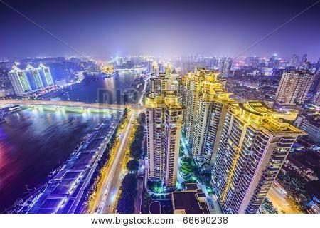 Fuzhou, Fujian, China cityscape on the Ming River. poster