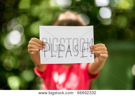 Girl With Please Sign