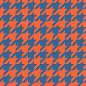 Houndstooth vector tile pattern. Traditional Scottish plaid fabric for colorful seamless website background or desktop wallpaper in red orange and navy blue color. poster