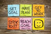 set goal, make plan, work, stick to it, reach goal - a success concept presented with colorful sticky notes poster