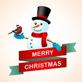 Christmas postcard with vintage snowman and bullfinch in red hat. poster