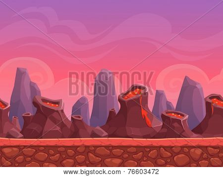 Seamless cartoon volcano landscape