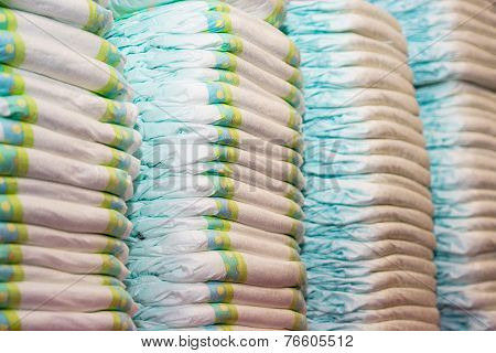 Children's Diapers Stacked In A Piles