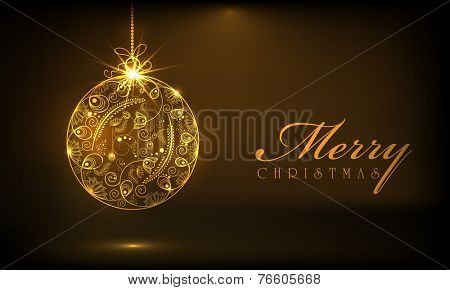 Beautiful floral design decorated X-mas balls on brown background for Merry Christmas celebrations.