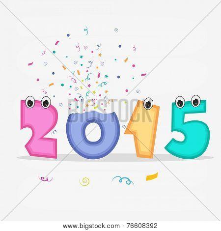 Happy New Year celebration concept with kiddish text 2015 on stylish grey background.
