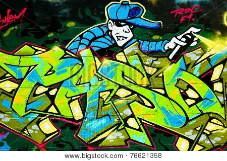 MELBOURNE, AUSTRALIA - OCT 18 2014: Street art by unidentified artist. Melbourne's graffiti management plan recognises the importance of street art in a vibrant urban culture
