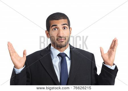 Arab Business Man With A Doubt Gesturing