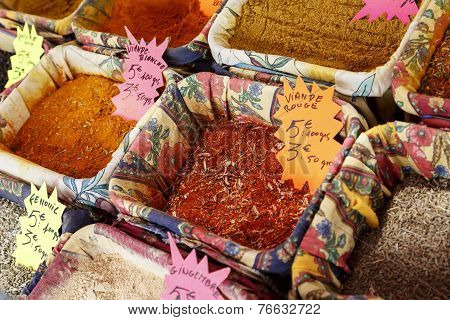 Spices Exposed For Sale On Cours Saleya