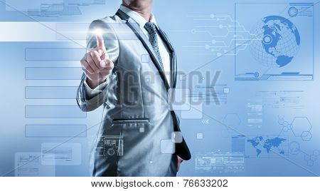 Business Man In Blue Grey Suit Pressing On Button Of Digital Virtual Screen Business Concept Of Mark