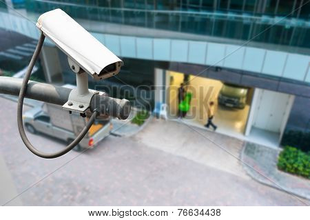 Cctv Or Surveillance Operating On Building Entrance