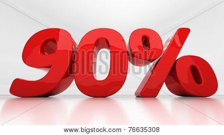 Ninety percent off. Discount 90.  Percentage. 3D illustration