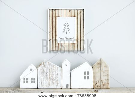 Merry Christmas Scandinavian  Room Interior With Wooden Frame, Small Houses