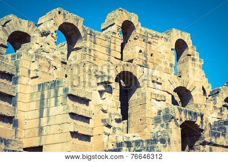 Ruins of the largest colosseum in in North Africa. El JemTunisia. UNESCO poster