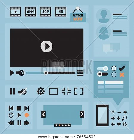 Flat UI design elements set for web and mobile