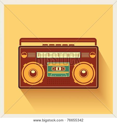 Classic 80s Boombox Portable Cassette Tape Player on Retro Background Detailed Vector Icon