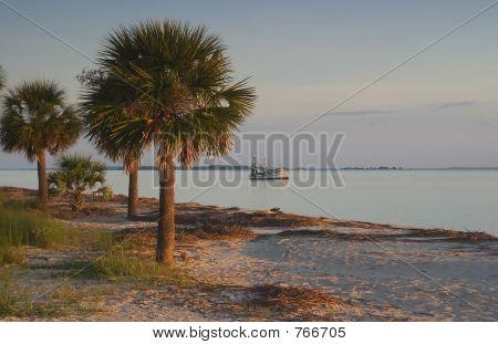 shrimp boat and beach