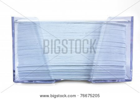 Stack Of Blue Paper In A Transparent Box