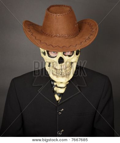 Man - Skeleton In Leather Cowboy Hat