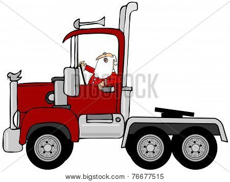 Santa driving a red semi truck