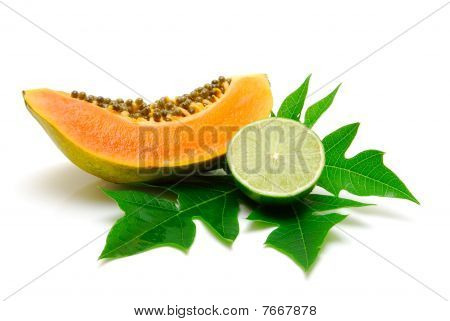 Papaya Slice And Lime Isolated