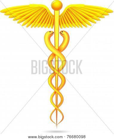 medical symbol gold caduceus