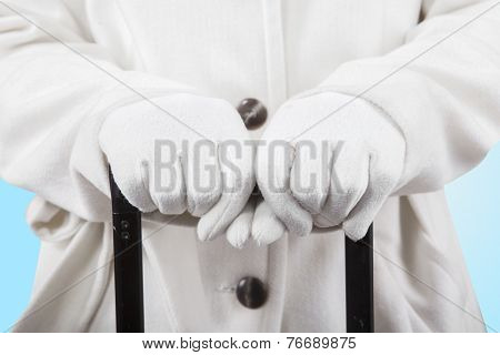 Woman Hands Holding A Luggage Handgrip