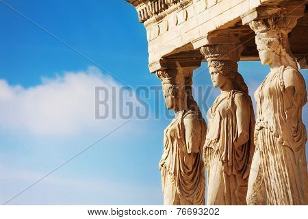 Beautiful close up statues view of Erechtheion