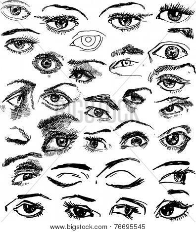 Big Set of Eyes Hand Drawn