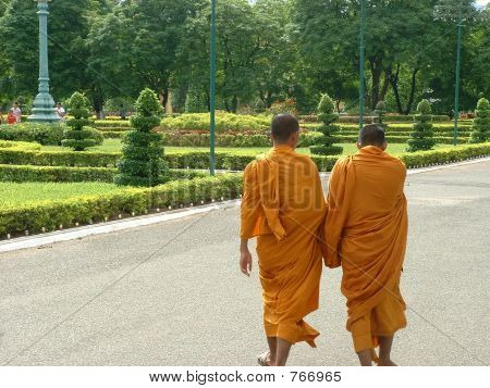 Two Monks at the Phnom Penh Grand Palace Complex in Cambodia
