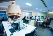 CCTV or surveillance operating in office building poster