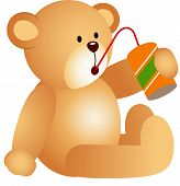 Scalable vectorial image representing a teddy bear drinking soda, isolated on white. poster