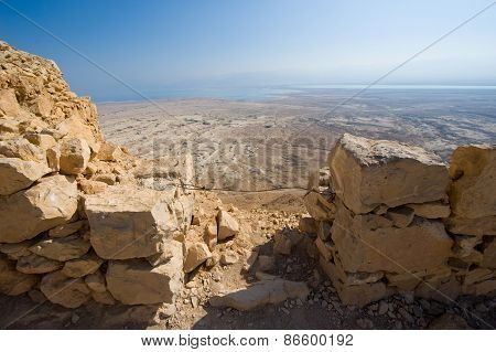 View from Masada in Israel to the dead sea poster